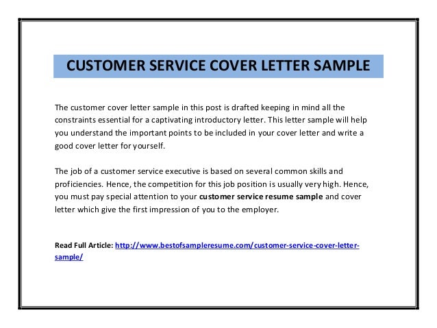 Exceptional CUSTOMER SERVICE COVER LETTER SAMPLE The Customer Cover Letter Sample In  This Post Is ...