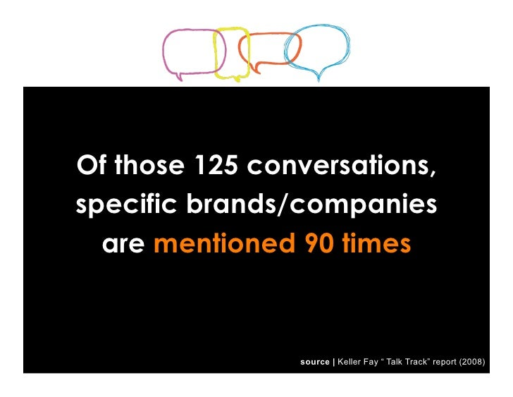 """Of those 125 conversations, specific brands/companies   are mentioned 90 times                    source   Keller Fay """" Ta..."""