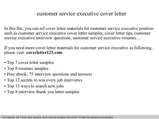 Cover Letter For Customer Support Executive - Customer Service ...