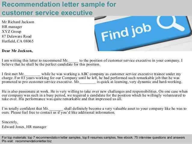 2 Recommendation Letter Sample For Customer Service