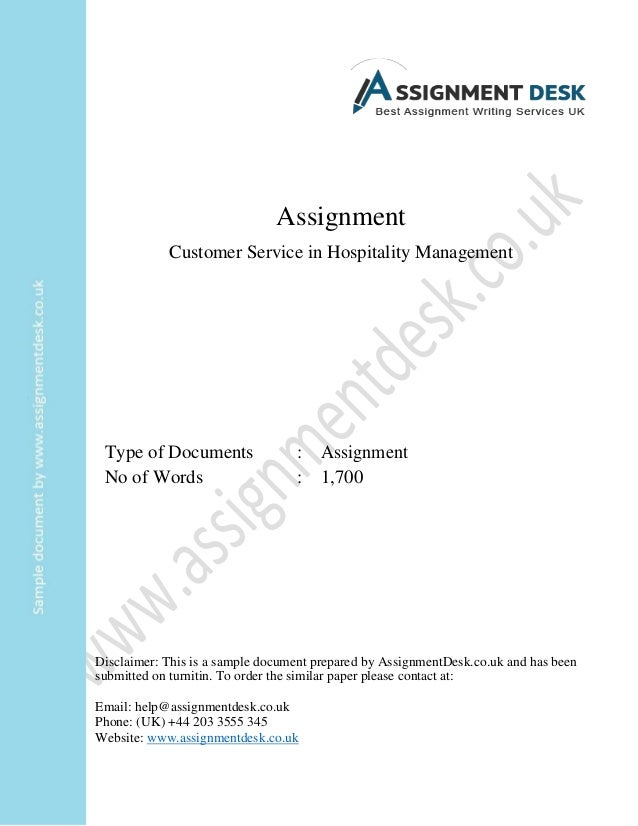 customer service in hospitality management assignment sample assignment customer service in hospitality management type of documents assignment no of words 1 700