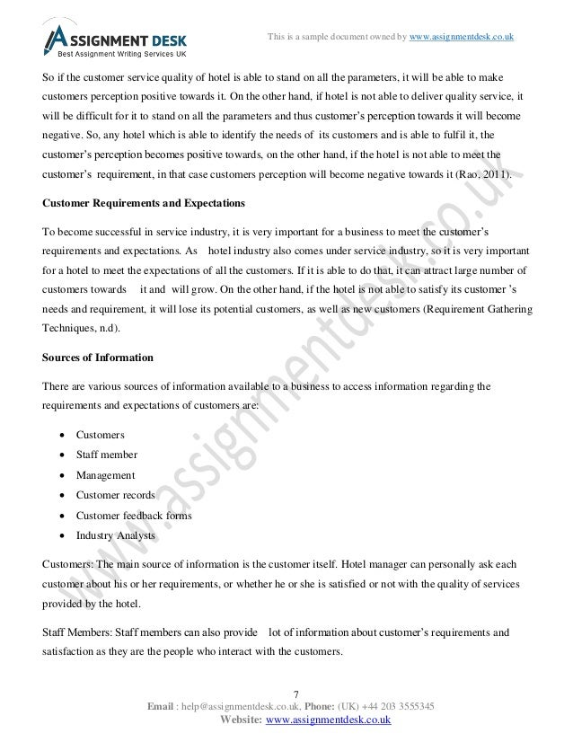 customer service assignment examples