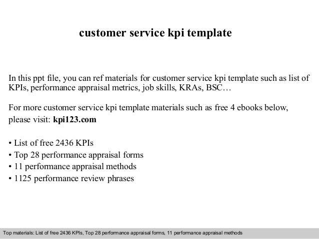 Customer service kpi template