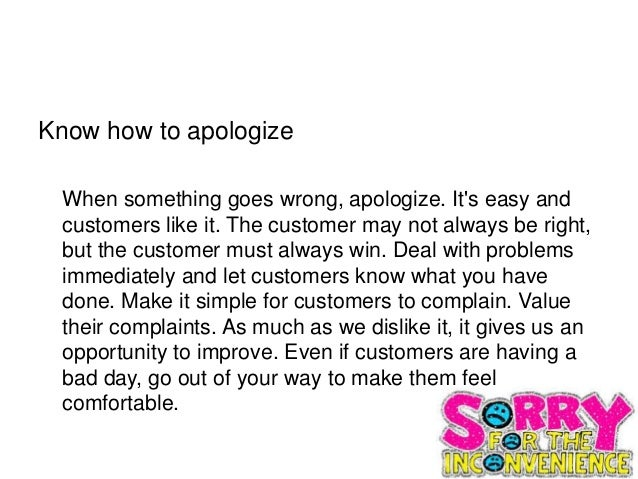 Customer service level two 10 know how to apologize when something goes ccuart Images