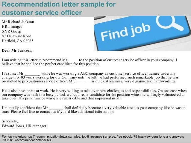 customer service officer recommendation letter