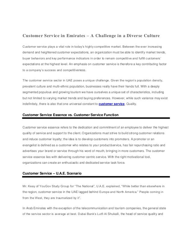 Customer Service in Emirates – A Challenge in a Diverse CultureCustomer service plays a vital role in today's highly compe...