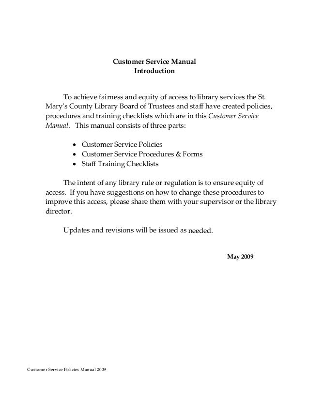 Customer service policy manual un11 for Board policy manual template