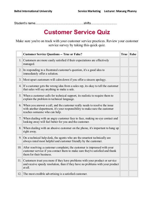 CUSTOMER SERVICE QUIZ PDF