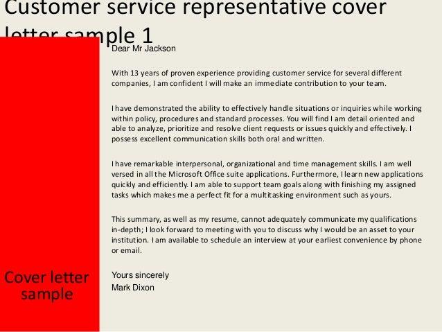 client service representative cover letter
