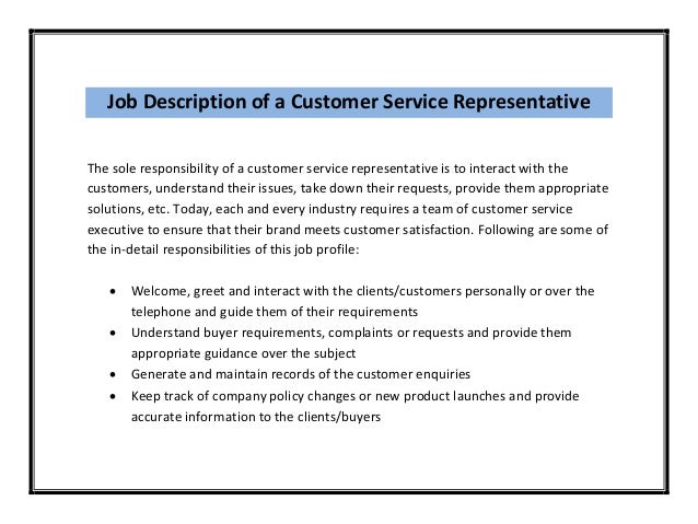 Job Description ...  Customer Service Job Description For Resume