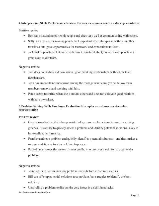 Customer service sales representative performance appraisal