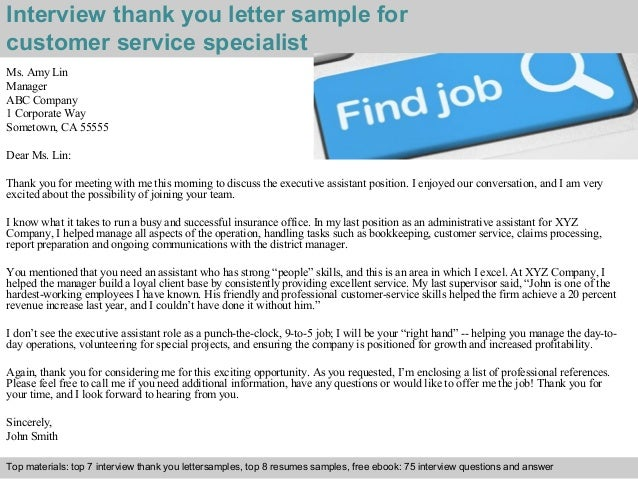 Customer service specialist 2 interview thank you letter sample for customer service expocarfo Choice Image