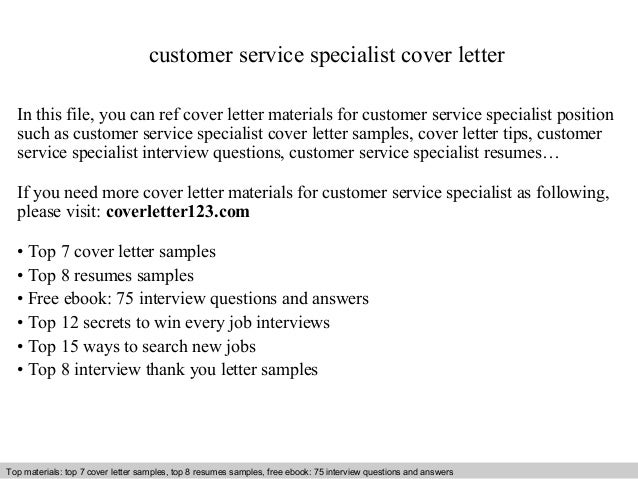 Customer Service Specialist Cover Letter In This File, You Can Ref Cover  Letter Materials For ...