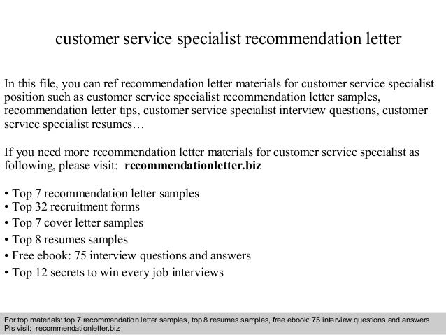 Customer Service Specialist Recommendation Letter In This File You Can Ref Materials For Sample