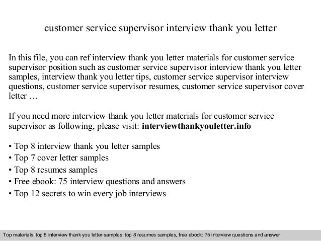 customer service supervisor interview thank you letter in this file you can ref interview thank - Sample Customer Service Supervisor Cover Letter