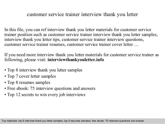 Customer Service Trainer Interview Thank You Letter In This File, You Can  Ref Interview Thank ...
