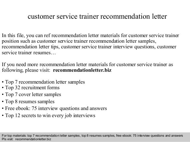 Customer service trainer recommendation letter customer service trainer recommendation letter in this file you can ref recommendation letter materials for recommendation letter sample spiritdancerdesigns Choice Image