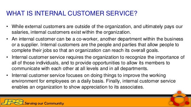 internal customer service Deals with internal and external customers at all levels via telephone  supported management by restocking merchandise and maintaining excellent customer service.