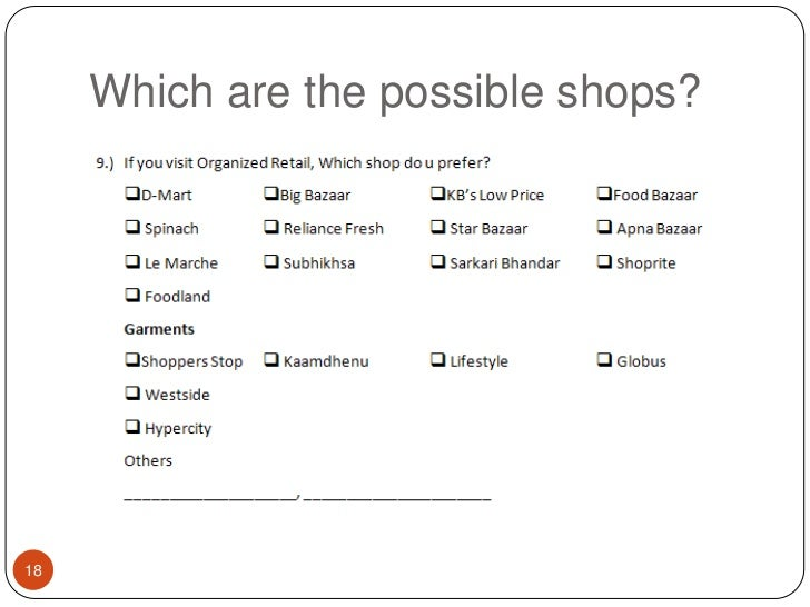 Which are the possible shops?<br />18<br />
