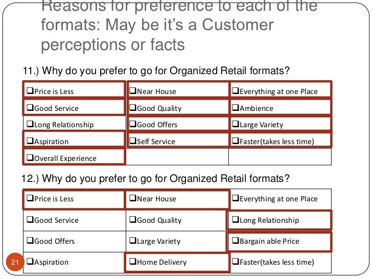 Reasons for preference to each of the formats: May be it's a Customer perceptions or facts<br />11.) Why do you prefer to ...