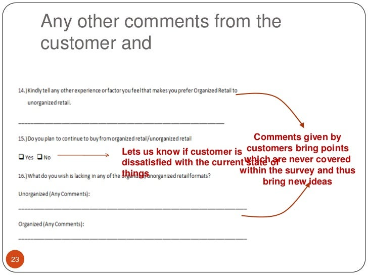 Any other comments from the customer and<br />Comments given by customers bring points which are never covered within the ...