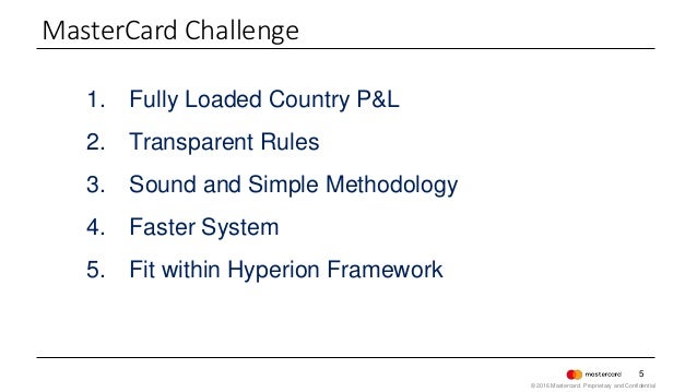 5 1. Fully Loaded Country P&L 2. Transparent Rules 3. Sound and Simple Methodology 4. Faster System 5. Fit within Hyperion...