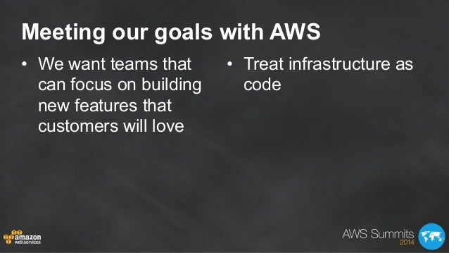 Meeting our goals with AWS • We want teams that can focus on building new features that customers will love • Treat infr...