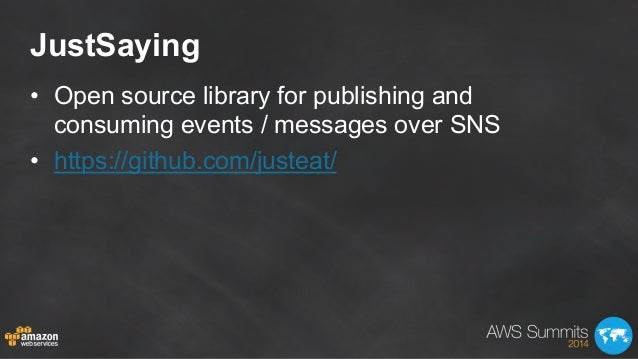 JustSaying • Open source library for publishing and consuming events / messages over SNS • https://github.com/justeat/