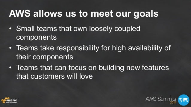 AWS allows us to meet our goals • Small teams that own loosely coupled components • Teams take responsibility for high a...
