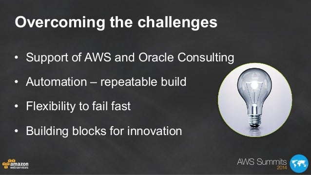 Overcoming the challenges • Support of AWS and Oracle Consulting • Automation – repeatable build • Flexibility to fail ...