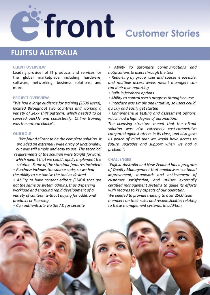 FUJITSUAUSTRALIACLIENTOVERVIEW                                         • Ability to automate communications andLeading ...