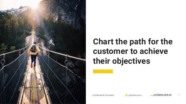 Confidential & Proprietary @underscorevc 17 Chart the path for the customer to achieve their objectives