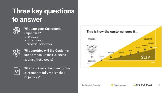 Confidential & Proprietary @underscorevc Three key questions to answer 18 What are your Customer's Objectives? • $Revenue •...