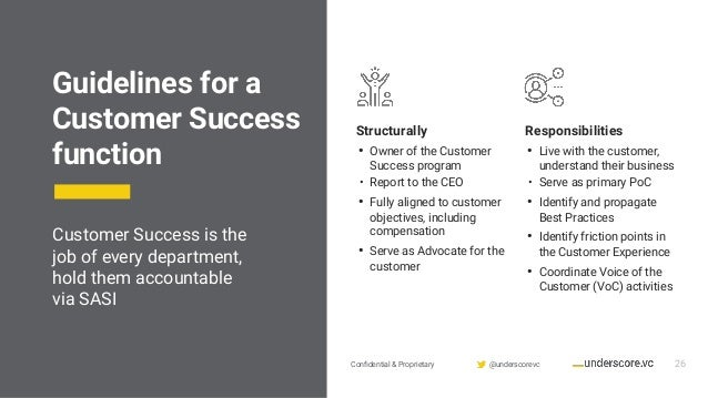 Confidential & Proprietary @underscorevc Guidelines for a Customer Success function Structurally • Owner of the Customer Su...