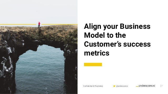 Confidential & Proprietary @underscorevc 27 Align your Business Model to the Customer's success metrics
