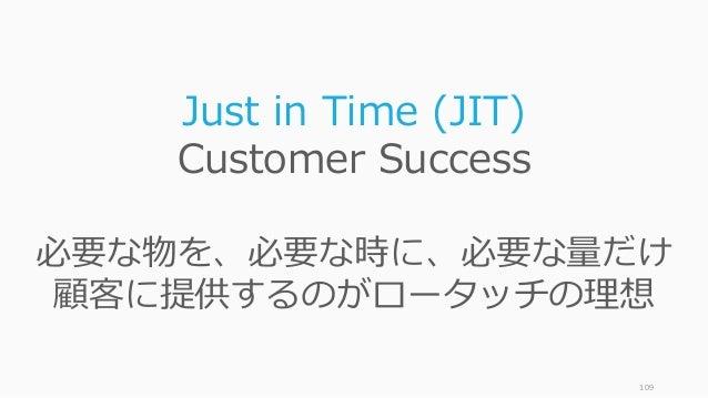 109 Just in Time (JIT) Customer Success 必要な物を、必要な時に、必要な量だけ 顧客に提供するのがロータッチの理想