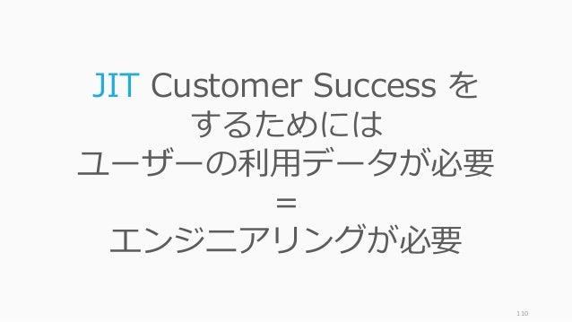 110 JIT Customer Success を するためには ユーザーの利⽤データが必要 = エンジニアリングが必要