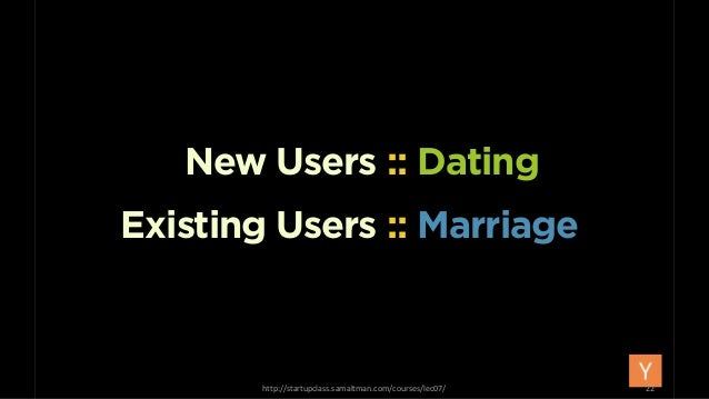 Existing Users :: Marriage New Users :: Dating http://startupclass.samaltman.com/courses/lec07/ 22
