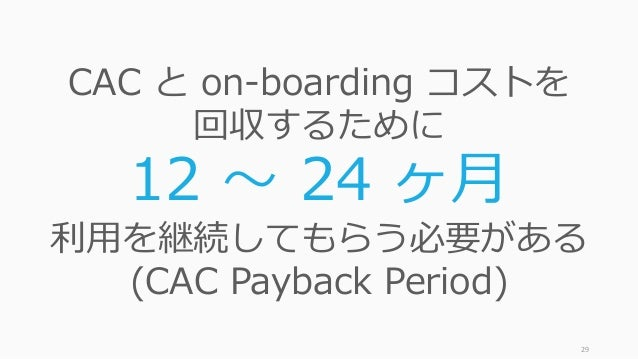 29 CAC と on-boarding コストを 回収するために 12 〜 24 ヶ⽉ 利⽤を継続してもらう必要がある (CAC Payback Period)