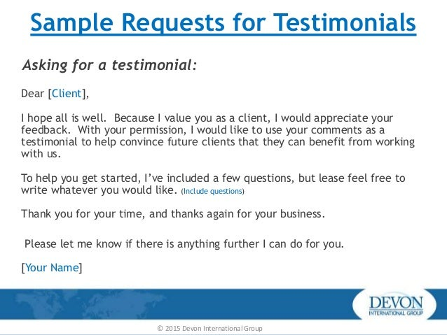 how to slyly ask for a testimonial