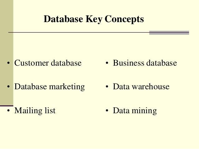 Database Key Concepts • Customer database • Database marketing • Mailing list • Business database • Data warehouse • Data ...