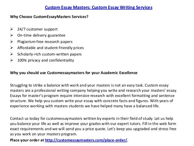 Custom essay master level