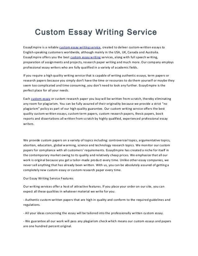 Custom essays written for you