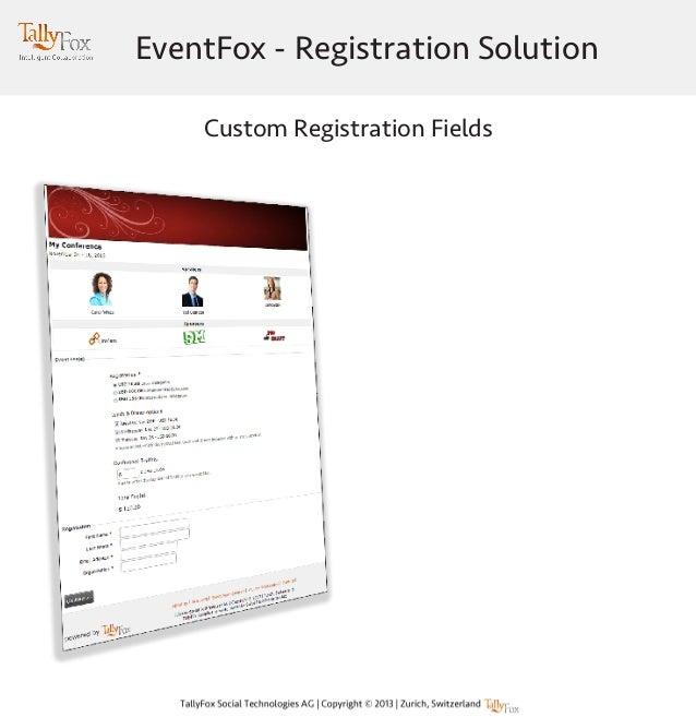 EventFox - Registration Solution Custom Registration Fields