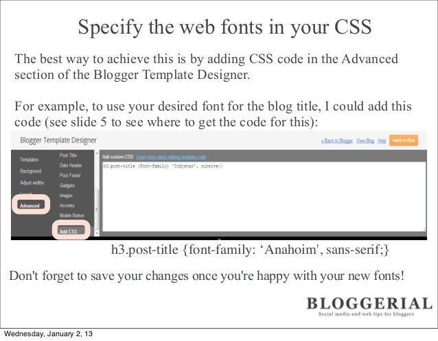 how to add google web fonts to blogger