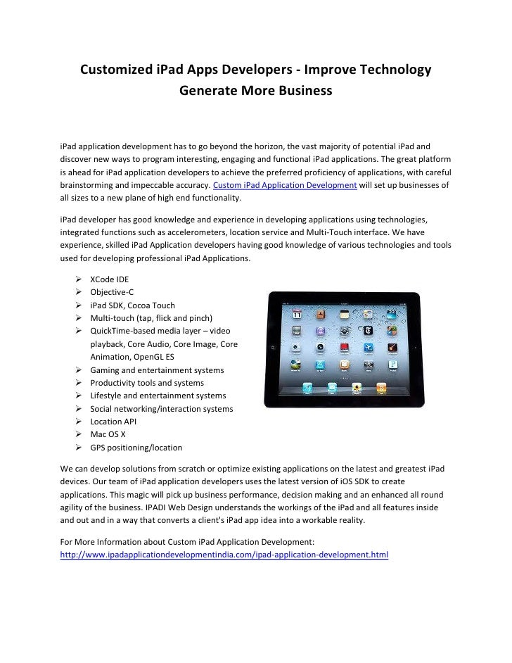 Customized iPad Apps Developers - Improve Technology                   Generate More BusinessiPad application development ...