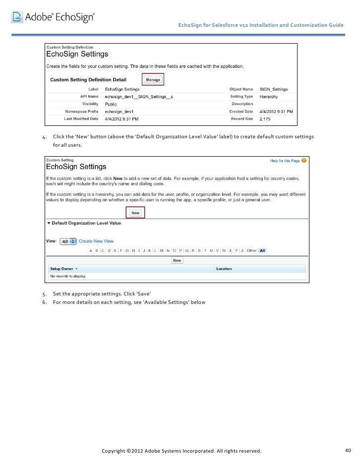 echosign salesforce installation customization guide