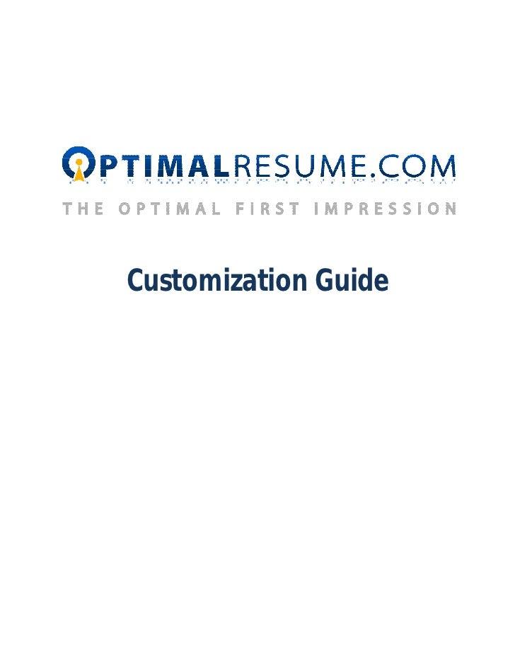 Optimal Resume Customization Manual   Optimal Resume