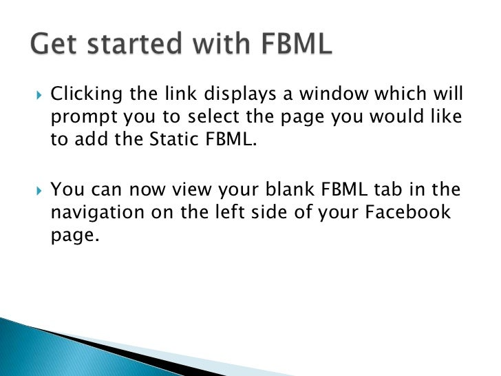 how to add fbml to facebook page