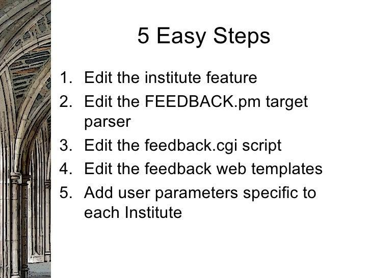 5 Easy Steps <ul><li>Edit the institute feature  </li></ul><ul><li>Edit the FEEDBACK.pm target parser  </li></ul><ul><li>E...